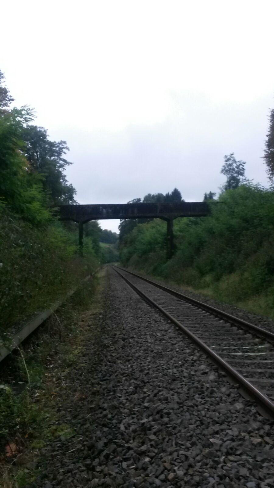 110 Jahre alte Fussgaengerbruecke in Lohmar