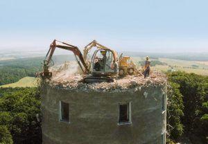 Spezialabbruch eines Funkturms in Colm
