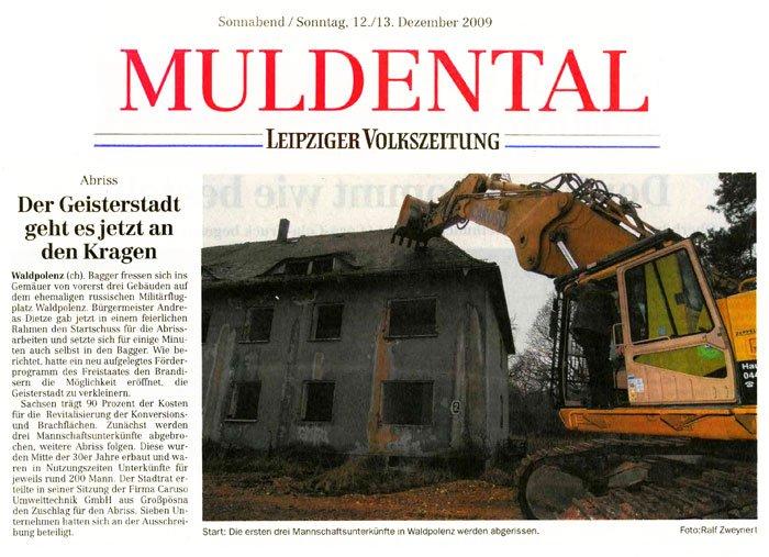 Zeitungsartikel zum Abriss in Waldpolenz