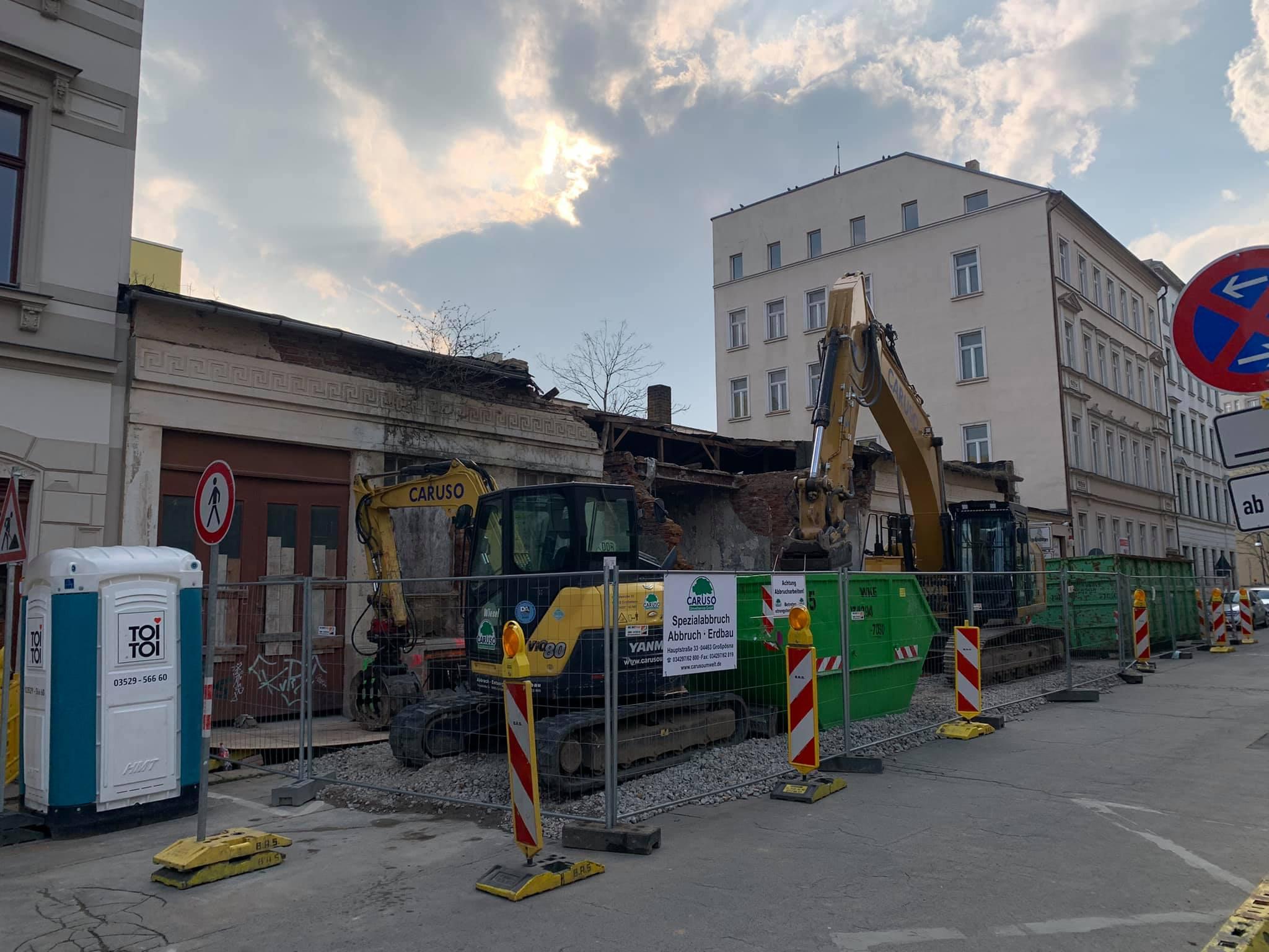 Rückbau Eingeschosser in Auguste-Schmidt-Straße in Leipzig