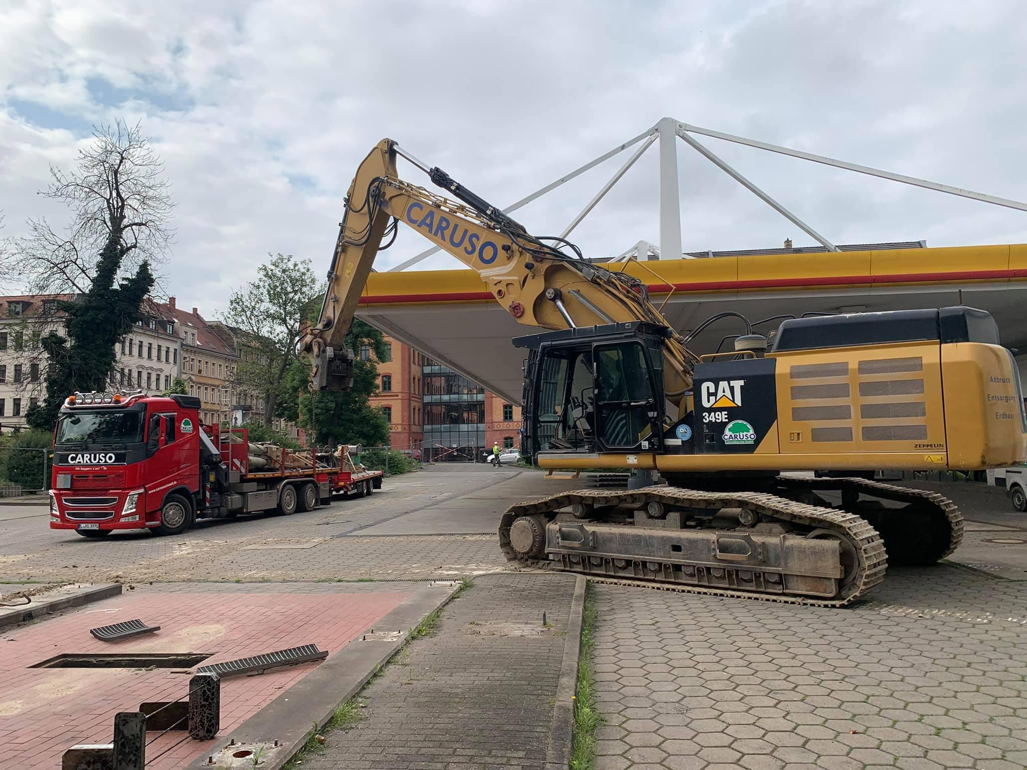 Rückbau der Shell Tankstelle in Reudnitz
